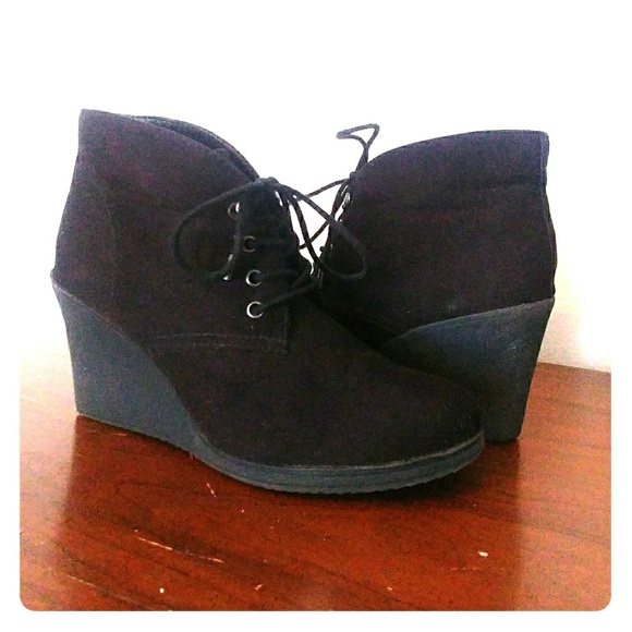 703fe9b31eb2 Merona Target Lace Up Black Wedge Booties size 8.  M 5b5ccf707386bcbe61046b4d. Other Shoes ...